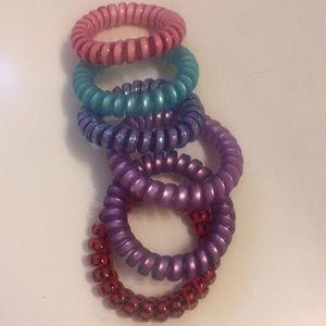 Pack of 6 Girls Phone Cord Hair Ties 2 in diameter